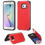 Insten Hard Cover Case w/card slot For Samsung Galaxy S6 Edge - Red (2102104)