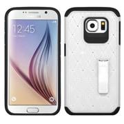 Insten Hard Dual Layer Rubber Silicone Cover Case w/stand/Diamond For Samsung Galaxy S6 - White/Black (2119139)