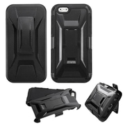 Insten Hard Dual Layer Plastic Silicone Cover Case w/Holster For Apple iPhone 6 - Black (2119300)