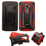 Insten Hard Hybrid Plastic Silicone Case w/Holster For LG Leon/Tribute 2 - Black/Red (2127262)