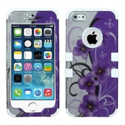 Insten Twilight Petunias /Solid White Hybrid Hard Shockproof Tuff Dual-Layer Case For iPhone SE 5S 5 5th (1551809)