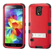 Insten Natural Red/Black TUFF Hybrid Phone Case Cover with Stand For Samsung Galaxy S V S5 (1849881)