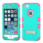Insten TUFF Dual Layer Hybrid Hard Protective Case Phone Stand For iPhone SE 5S 5 - Teal Green/Pink (1910102)
