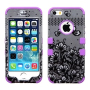 Insten Lace Flowers/Purple Hybrid TUFF Phone Premium Case For iPhone SE 5 5s - Black (1911199)
