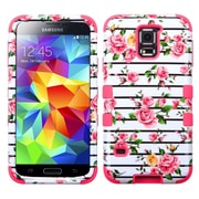 Insten Pink Fresh Roses/Pink Hybrid TUFF Phone Cover Premium Case For Samsung Galaxy S5 SV (1911350)