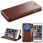 "Insten PU Leather Flip Card Wallet Stand Case For Apple iPhone 6 Plus 5.5"" - Brown (1951725)"