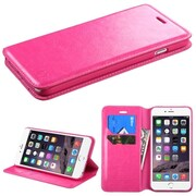 "Insten PU Leather Flip Card Wallet Stand Case For Apple iPhone 6 Plus 5.5"" - Hot Pink (1951780)"