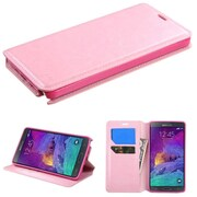Insten Flip Leather Fabric Case w/stand/card slot For Samsung Galaxy Note 4 - Pink (1983242)