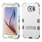 Insten Hard Dual Layer Rubberized Silicone Case w/stand For Samsung Galaxy S6 - White/Gray (2096539)