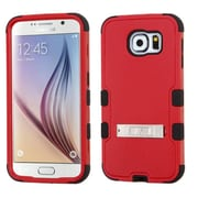 Insten Hard Hybrid Rugged Shockproof Silicone Case with Stand For Samsung Galaxy S6 - Red/Black (2099559)
