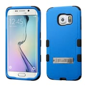 Insten Hard Dual Layer Rubberized Silicone Cover Case w/stand For Samsung Galaxy S6 Edge - Blue/Black (2107589)