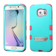 Insten Hard Hybrid Shockproof Silicone Cover Case with Stand For Samsung Galaxy S6 Edge - Teal Green/Hot Pink (2107593)