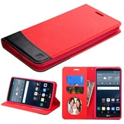 Insten Folio Leather Fabric Cover Case w/stand/card holder/Photo Display For LG G Stylo - Red/Black (2119519)