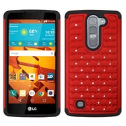 Insten Hard Dual Layer Rubberized Silicone Cover Case w/Diamond For LG Volt 2 - Red/Black (2128391)