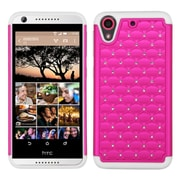 Insten Hard Hybrid Rubber Coated Silicone Cover Case w/Diamond For HTC Desire 626/626s - Hot Pink/White (2136642)