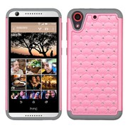 Insten Hard Hybrid Rugged Shockproof Rubber Silicone Case w/Diamond For HTC Desire 626/626s - Pink/Gray (2136644)