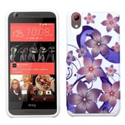 Insten Hibiscus Flower Romance Hard Hybrid Rubberized Silicone Case For HTC Desire 626/626s - Purple/White (2136658)