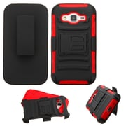Insten Hard Hybrid Shockproof Plastic Silicone Cover Case w/Holster For Samsung Galaxy Core Prime - Black/Red (2136748)
