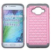 Insten Hard Hybrid Rubber Coated Silicone Case w/Diamond For Samsung Galaxy J3 - Pink/Gray (2189715)
