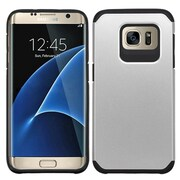 Insten Hard Hybrid Rubber Silicone Case For Samsung Galaxy S7 Edge - Silver/Black (2200374)