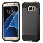 Insten Hard Hybrid Rubber Coated Silicone Cover Case For Samsung Galaxy S7 Edge - Black (2205046)