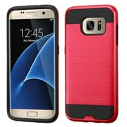 Insten Hard Dual Layer Rubber Silicone Case For Samsung Galaxy S7 Edge - Hot Pink/Black (2205049)