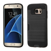Insten Hard Dual Layer Rubber Coated Silicone Cover Case w/card holder For Samsung Galaxy S7 Edge - Black (2208137)