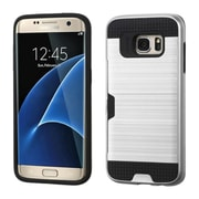Insten Hard Hybrid Silicone Case w/card slot For Samsung Galaxy S7 Edge - Silver/Black (2208138)