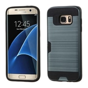 Insten Hard Hybrid Silicone Cover Case w/card slot For Samsung Galaxy S7 Edge - Blue/Black (2208139)