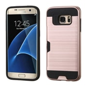 Insten Hard Hybrid Rubber Silicone Cover Case w/card slot For Samsung Galaxy S7 Edge - Rose Gold/Black (2208140)