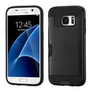 Insten Hard Hybrid Rubberized Silicone Case w/card holder For Samsung Galaxy S7 - Black (2208141)
