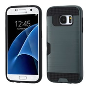 Insten Hard Dual Layer Rubber Coated Silicone Case w/card slot For Samsung Galaxy S7 - Blue/Black (2208142)