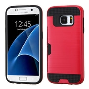 Insten Hard Hybrid Rubberized Silicone Case w/card slot For Samsung Galaxy S7 - Red/Black (2208144)