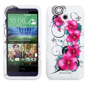 Insten Morning Petunias Hard Dual Layer Silicone Cover Case For HTC Desire 510 - White/Purple (2011518)