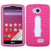 Insten Symbiosis Hybrid Stand Hard Case w/ Diamond For LG Optimus F60 LG Tribute LS660 - Hot Pink/White (2030136)