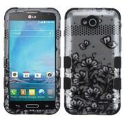 Insten Lace Flowers TUFF Hybrid Hard Phone Case Shell For LG D415 Optimus L90 - Black (2064477)