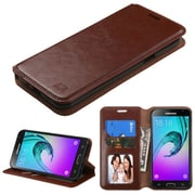 Insten Flip Leather Wallet Cover Stand Case with Card slot For Samsung Galaxy J3 - Brown (2192975)