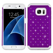 Insten Hard Hybrid Rubberized Silicone Cover Case w/Diamond For Samsung Galaxy S7 - Purple/White (2195491)