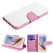 Insten Folio Leather Fabric Case w/stand/card holder For Samsung Galaxy S6 - White/Pink (2092055)