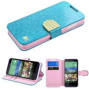Insten Book-Style Leather Glitter Cover Case w/stand/card slot/Diamond For HTC Desire 510 - Blue/Gold (2092503)