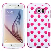Insten Tuff Polka Dots Hard Hybrid Rugged Shockproof Rubber Silicone Case For Samsung Galaxy S6 - Hot Pink/White (2096517)