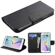 Insten Flip Leather Fabric Case w/stand/card slot For Samsung Galaxy S6 Edge - Black (2102233)