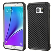 Insten Carbon Fiber Hard Hybrid Rugged Shockproof Rubber Coated Silicone Case For Samsung Galaxy Note 5 - Black (2147978)