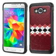 Insten Argyle Hard Dual Layer Rubber Coated Silicone Cover Case For Samsung Galaxy Grand Prime - Red/White (2166541)
