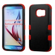 Insten Tuff Hard Hybrid Rubberized Silicone Cover Case For Samsung Galaxy S7 - Black/Red (2195458)