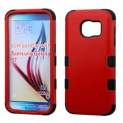 Insten Tuff Hard Hybrid Rubberized Silicone Case For Samsung Galaxy S7 - Red/Black (2195460)