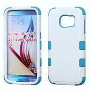 Insten Tuff Hard Hybrid Rubberized Silicone Case For Samsung Galaxy S7 - White/Blue (2195461)