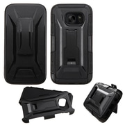 Insten Hard Dual Layer Plastic Silicone Case w/stand/Holster For Samsung Galaxy S7 - Black (2205053)