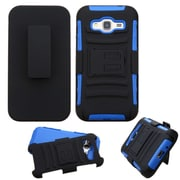 Insten Hard Dual Layer Plastic Silicone Case w/Holster For Samsung Galaxy J3 - Black/Blue (2205114)