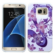 Insten Hibiscus Flower Romance Hard Hybrid Rubber Coated Silicone Case For Samsung Galaxy S7 Edge - Purple/White (2208040)